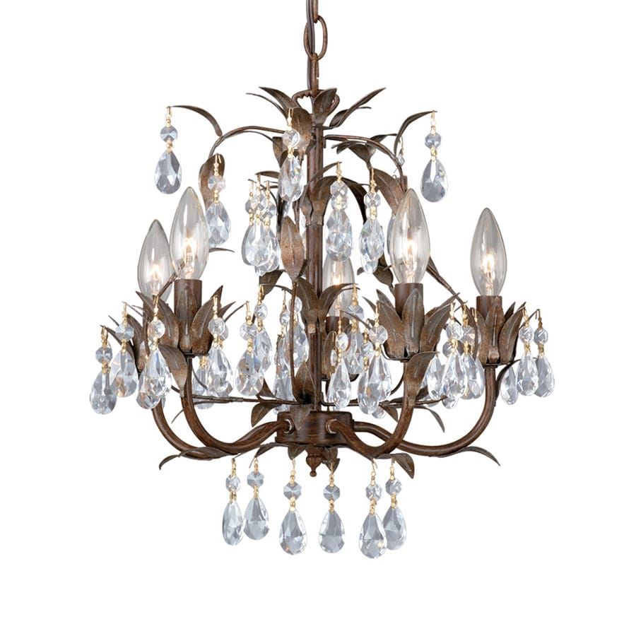 Cascadia Lighting Biella 15.75-in 5-Light Hellenic Patina Candle Chandelier