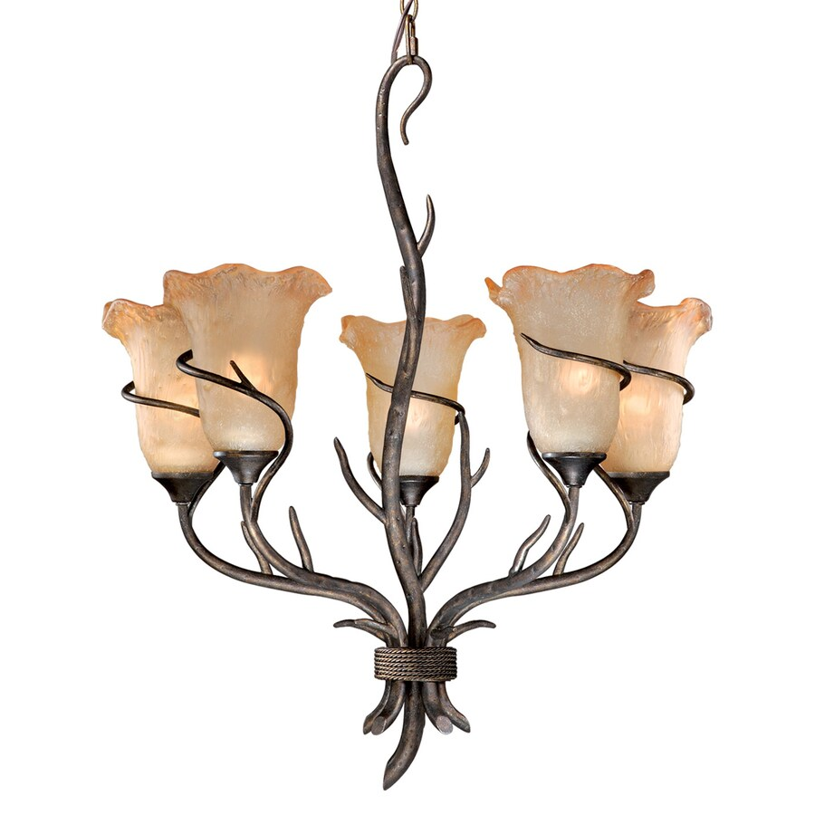 Cascadia Lighting Monterey 24.5-in 5-Light Autumn Patina Rustic Tinted Glass Shaded Chandelier