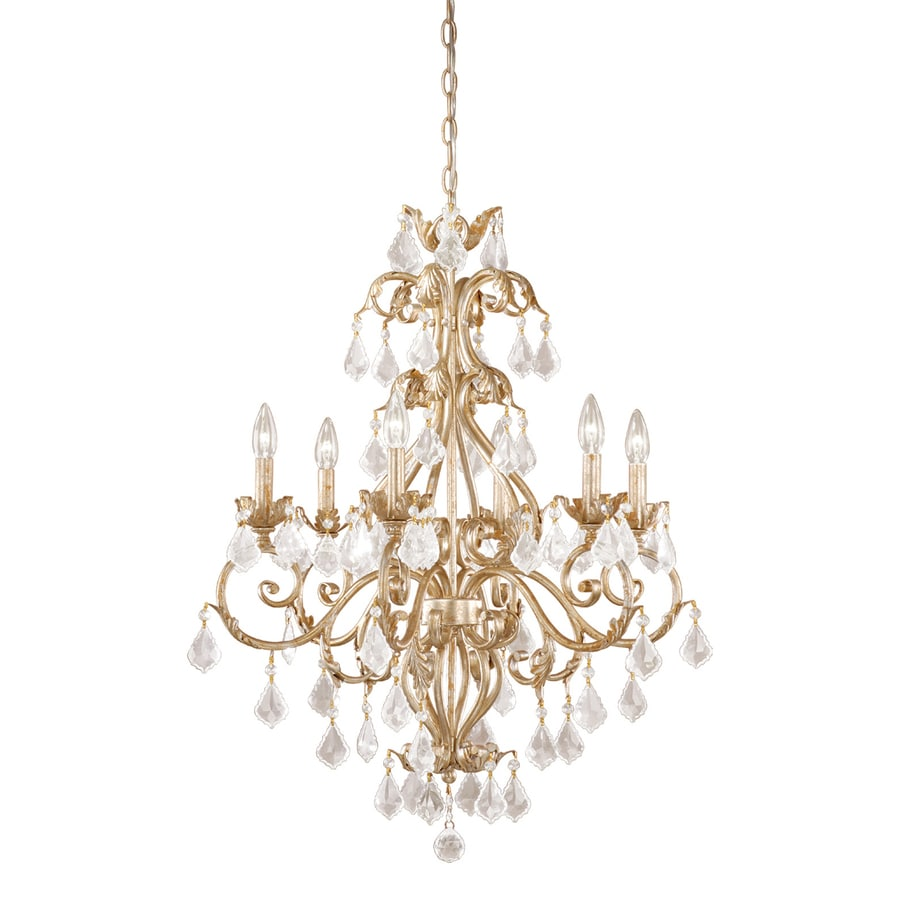 Shop cascadia lighting newcastle 26 5 in 6 light gilded white gold candle chandelier at - Lights and chandeliers ...