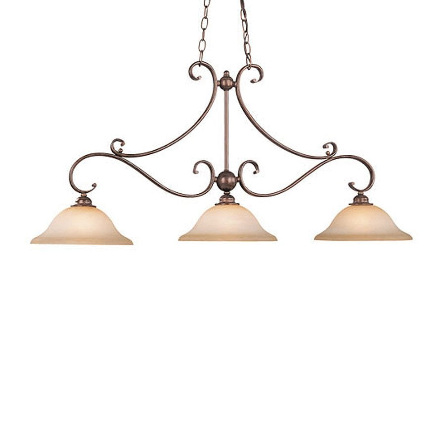 Cascadia Lighting Monrovia 11-in W 3-Light Royal Bronze Kitchen Island Light with Tinted Shade