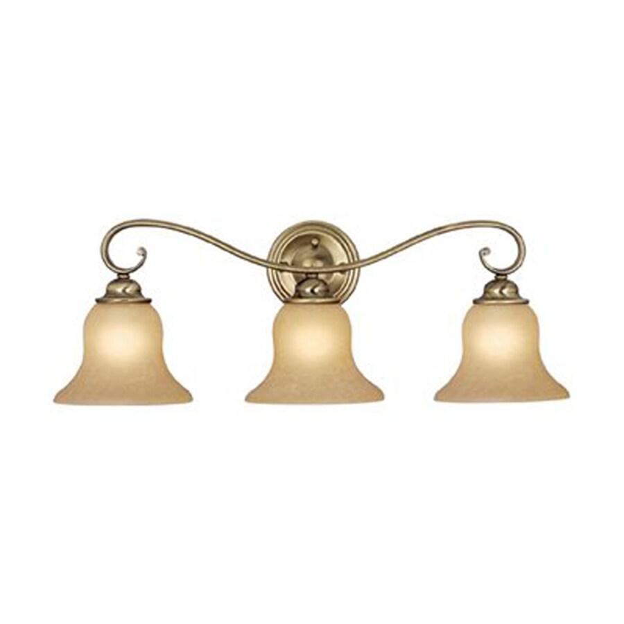 shop cascadia lighting 3 light monrovia antique brass bathroom vanity light at. Black Bedroom Furniture Sets. Home Design Ideas