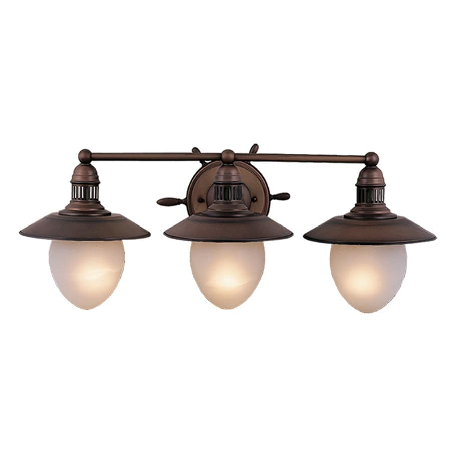 Shop cascadia lighting 3 light nautical antique red copper for Bathroom vanity lights