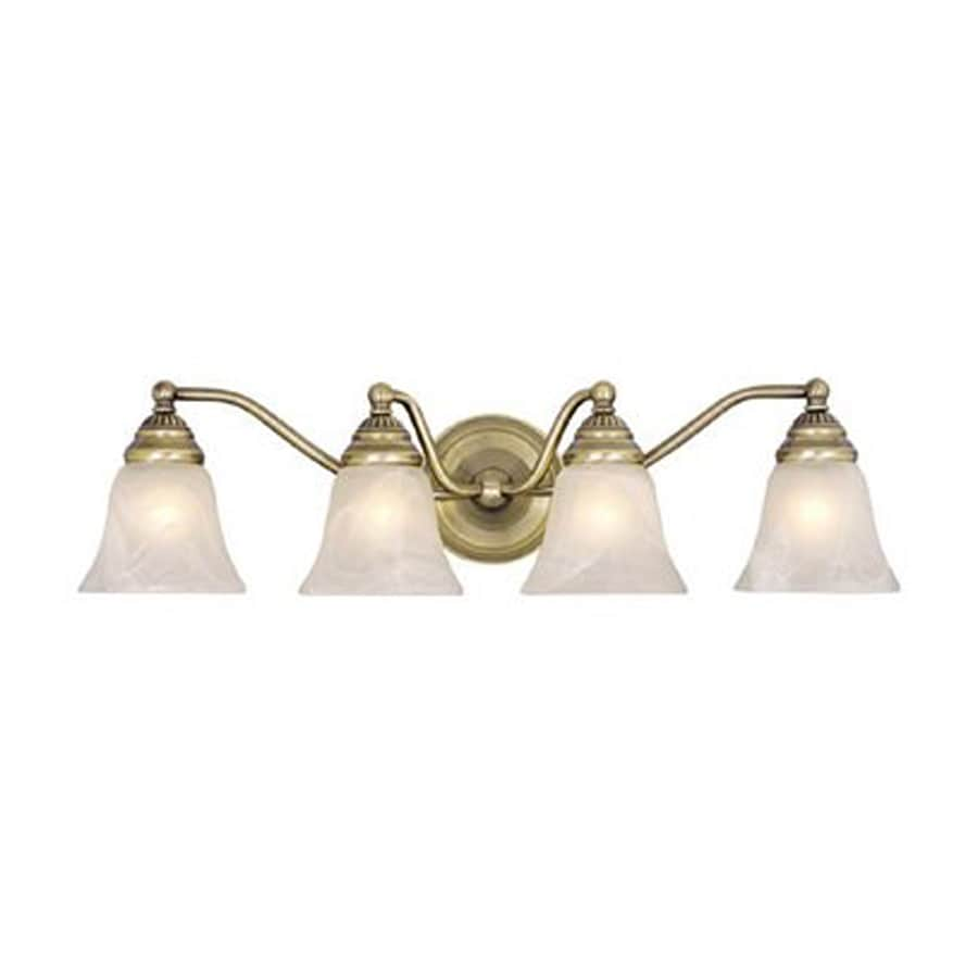 Shop cascadia lighting 4 light standford antique brass for Vintage bathroom lighting fixtures