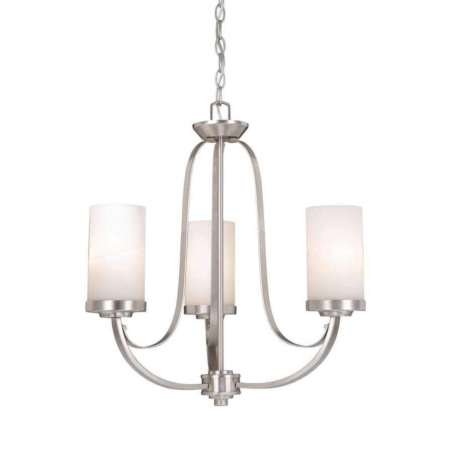 Cascadia Lighting Oxford 20-in 3-Light Brushed Nickel Shaded Chandelier