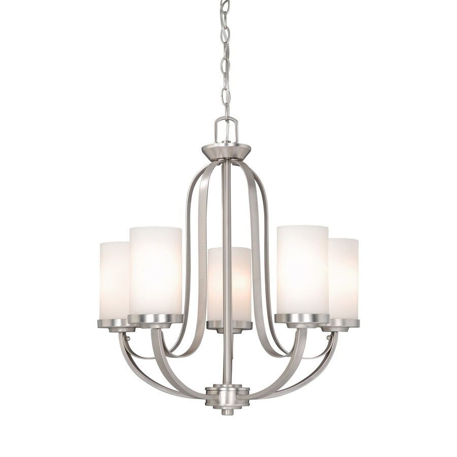 Cascadia Lighting Oxford 23-in 5-Light Brushed Nickel Shaded Chandelier