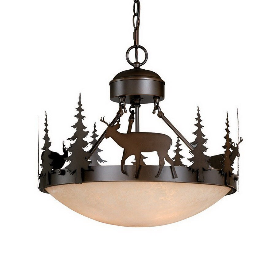 Cascadia Lighting 18.5-in W Burnished Bronze Semi-Flush Mount Light