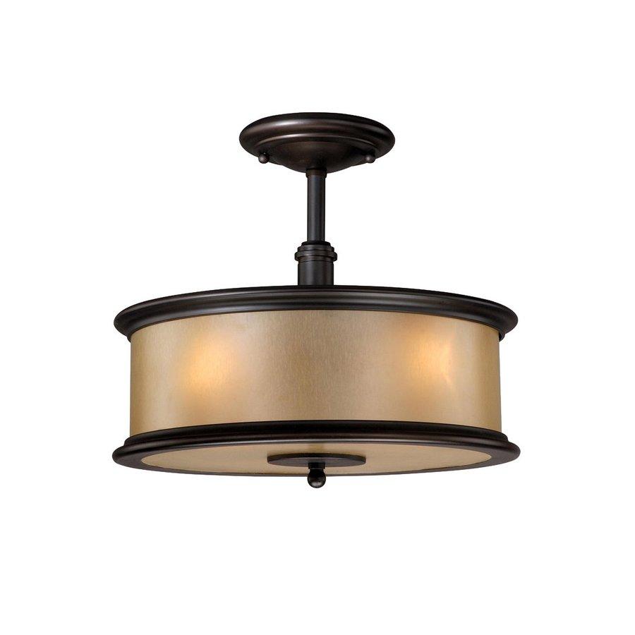 Cascadia Lighting Carlisle 13.375-in W Noble Bronze Opalescent Glass Semi-Flush Mount Light