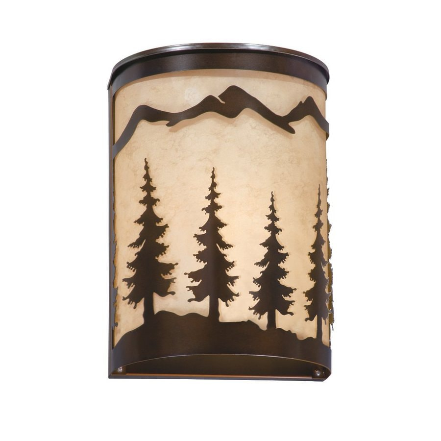 Rustic Wall Sconces Lowes : Shop Cascadia Lighting Yosemite 8-in W 1-Light Burnished Bronze Pocket Hardwired Wall Sconce at ...