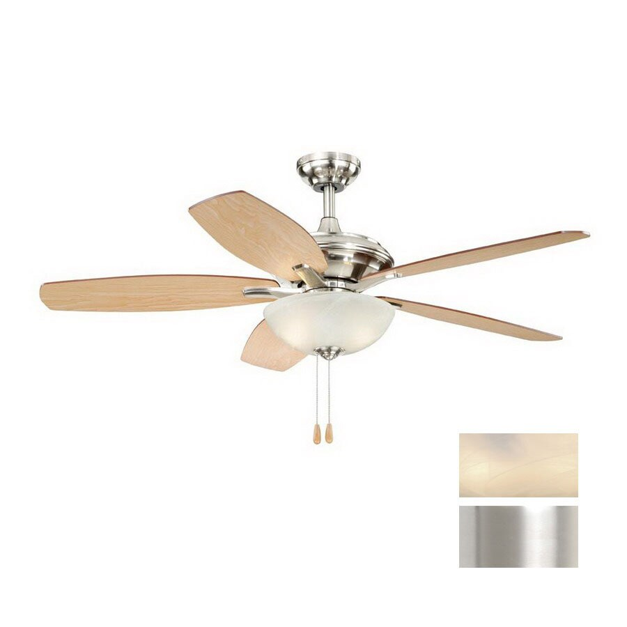 Cascadia Lighting 52-in Valencia Satin Nickel Ceiling Fan with Light Kit