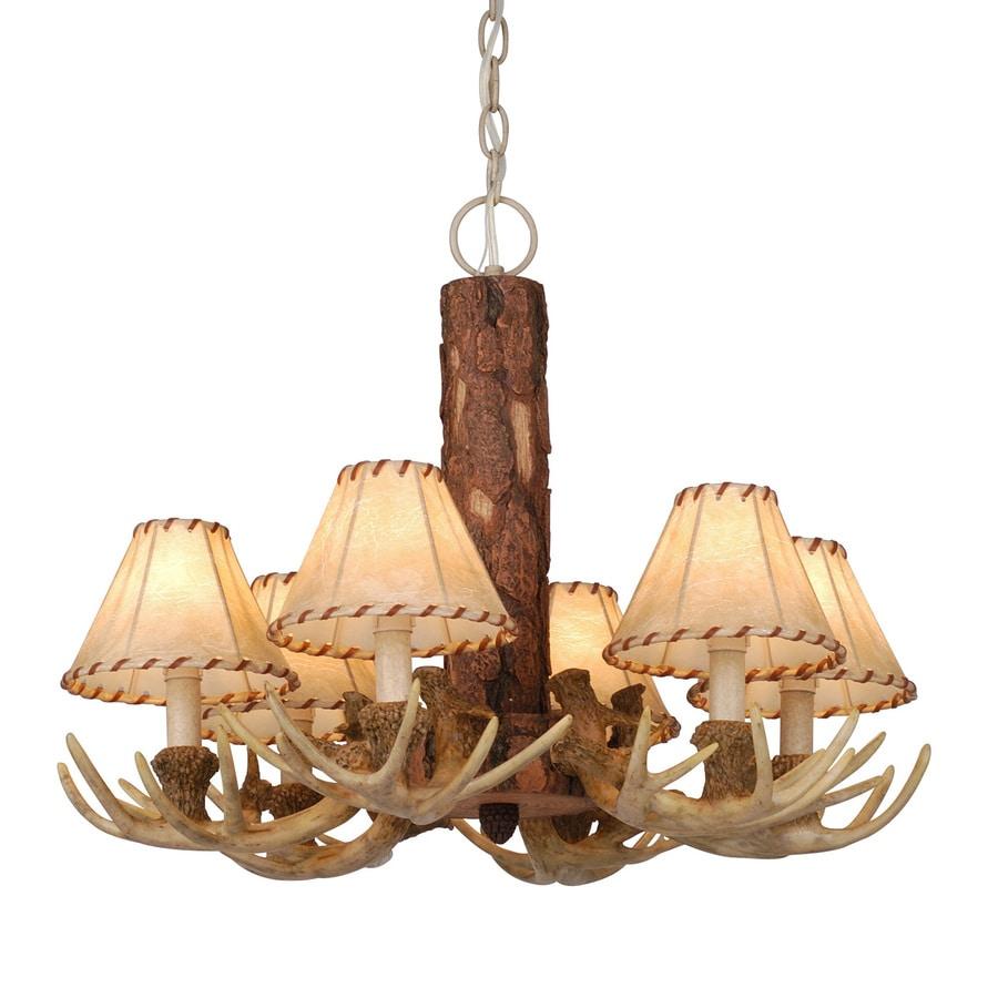 Cascadia Lighting Lodge 22-in 6-Light Noachian Stone Rustic Shaded Chandelier