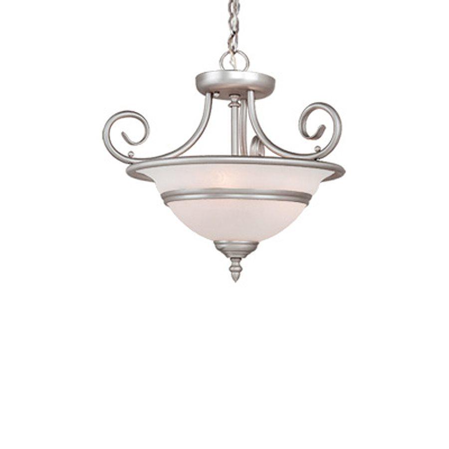 Cascadia Lighting Da Vinci 16-in W Brushed Nickel Alabaster Glass Semi-Flush Mount Light