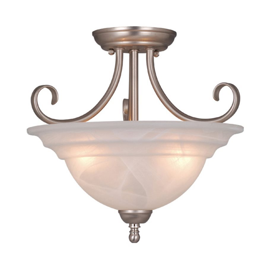 Cascadia Lighting Babylon 14-in W Brushed Nickel Alabaster Glass Semi-Flush Mount Light