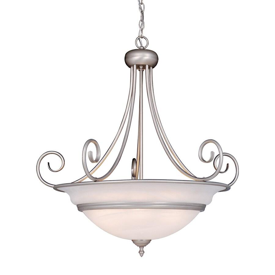 Cascadia Lighting Da Vinci 31.5-in Brushed Nickel Single Alabaster Glass Bowl Pendant