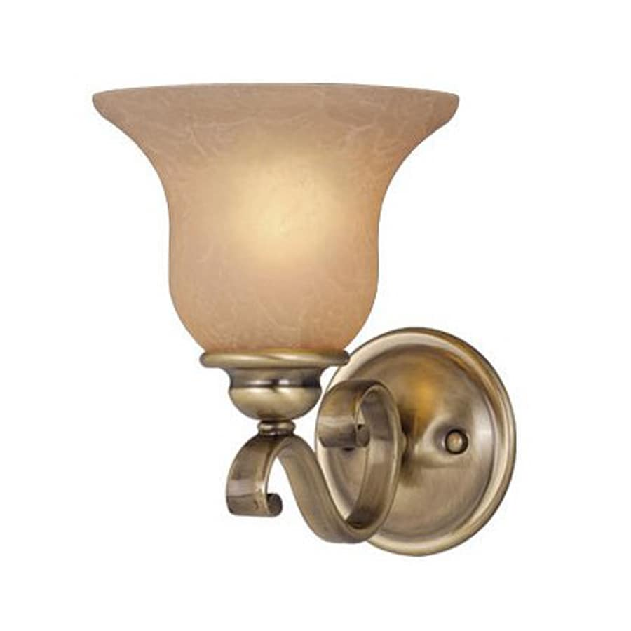 Cascadia Lighting Monrovia 7-in W 1-Light Antique Brass Arm Hardwired Wall Sconce