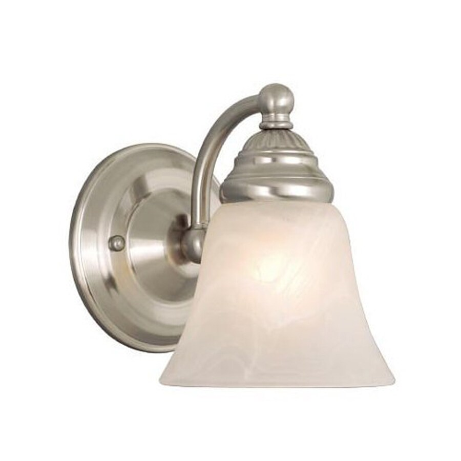 Shop Cascadia Lighting Standford 5.25-in W 1-Light Brushed Nickel Arm Hardwired Wall Sconce at ...