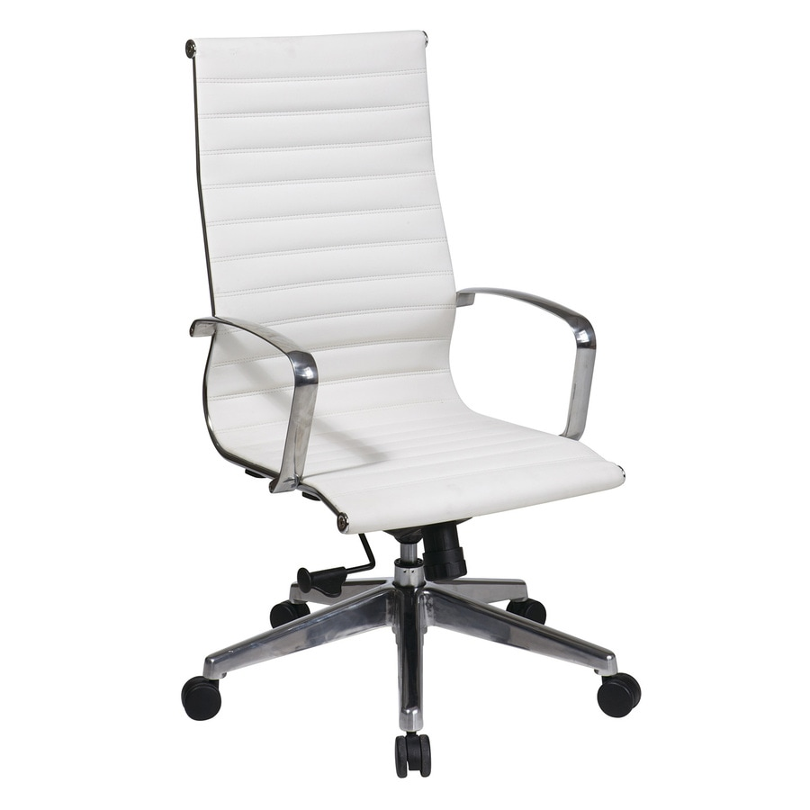 Office Star One OSP Furniture White Leather Executive Office Chair