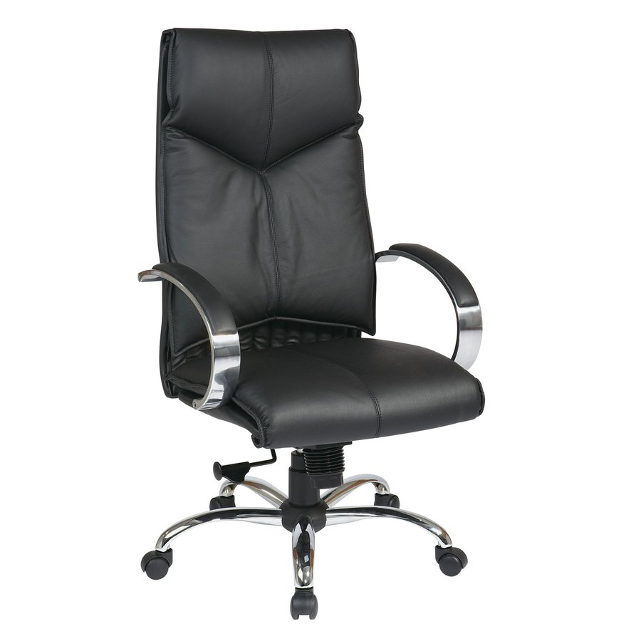 Office Star One Proline II Black/Chrome Leather Executive Office Chair