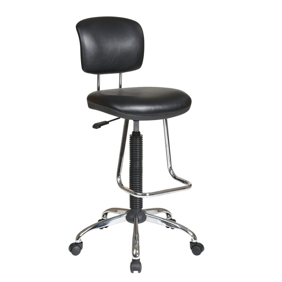 Shop Office Star One WorkSmart Black Chrome Vinyl Drafting Office Chair At Lo