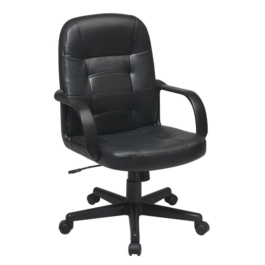 Office Star One WorkSmart Black Leather Manager Office Chair