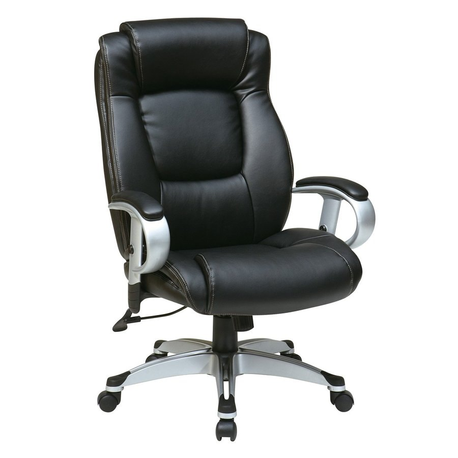 office star one worksmart black silver leather executive office chair