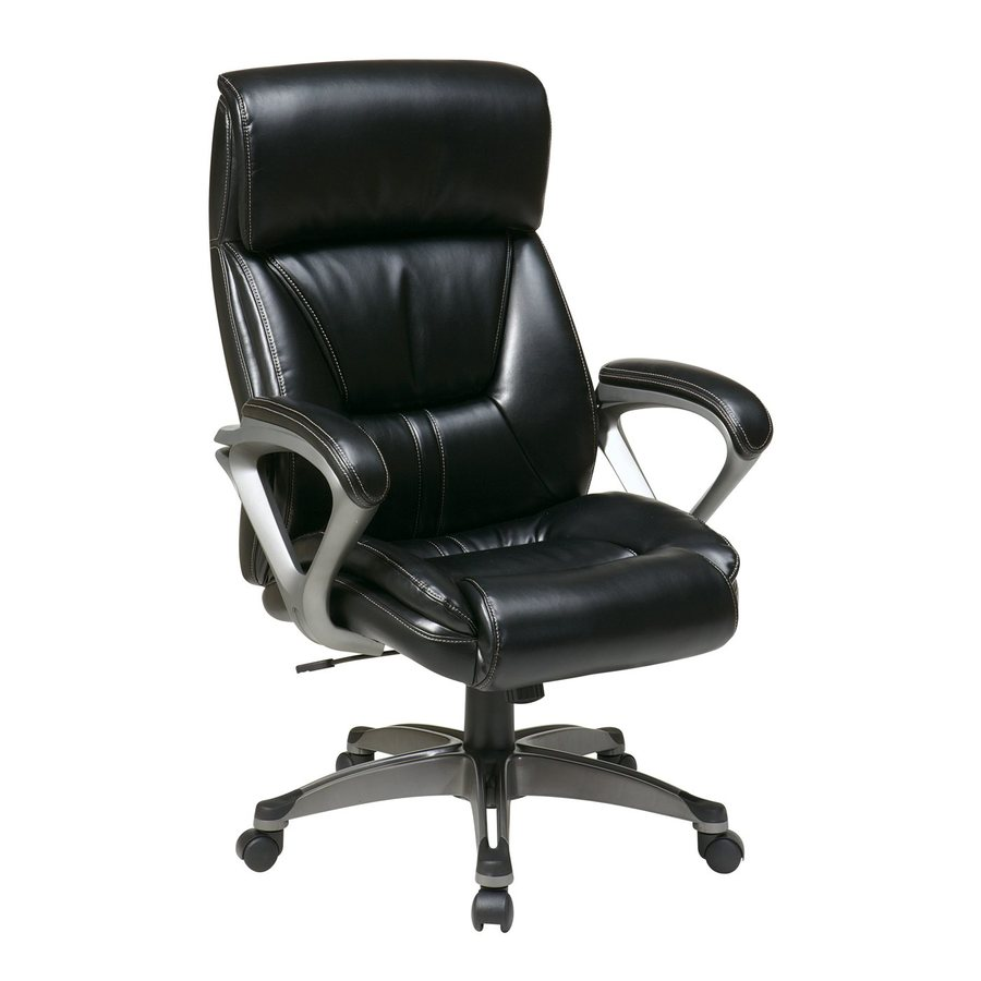 Office Star One WorkSmart Black/Titanium Leather Executive Office Chair