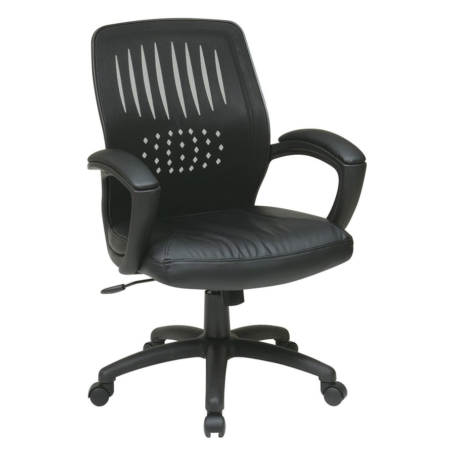 Office Star One WorkSmart Black Leather Task Office Chair
