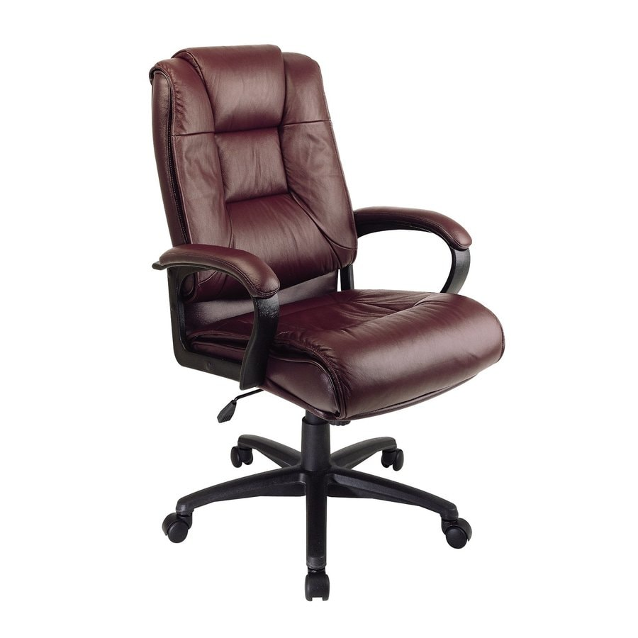 Office Star One WorkSmart Burgundy Leather Executive Office Chair