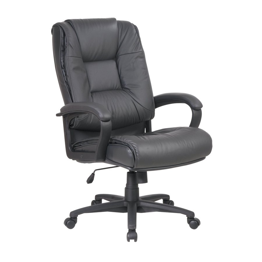 Shop Office Star One WorkSmart Grey Leather Executive Office Chair At
