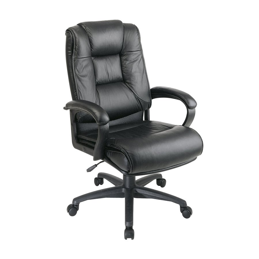 Office Star One WorkSmart Black Leather Executive Office Chair