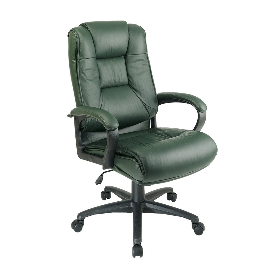Office Star One WorkSmart Green Leather Executive Office Chair