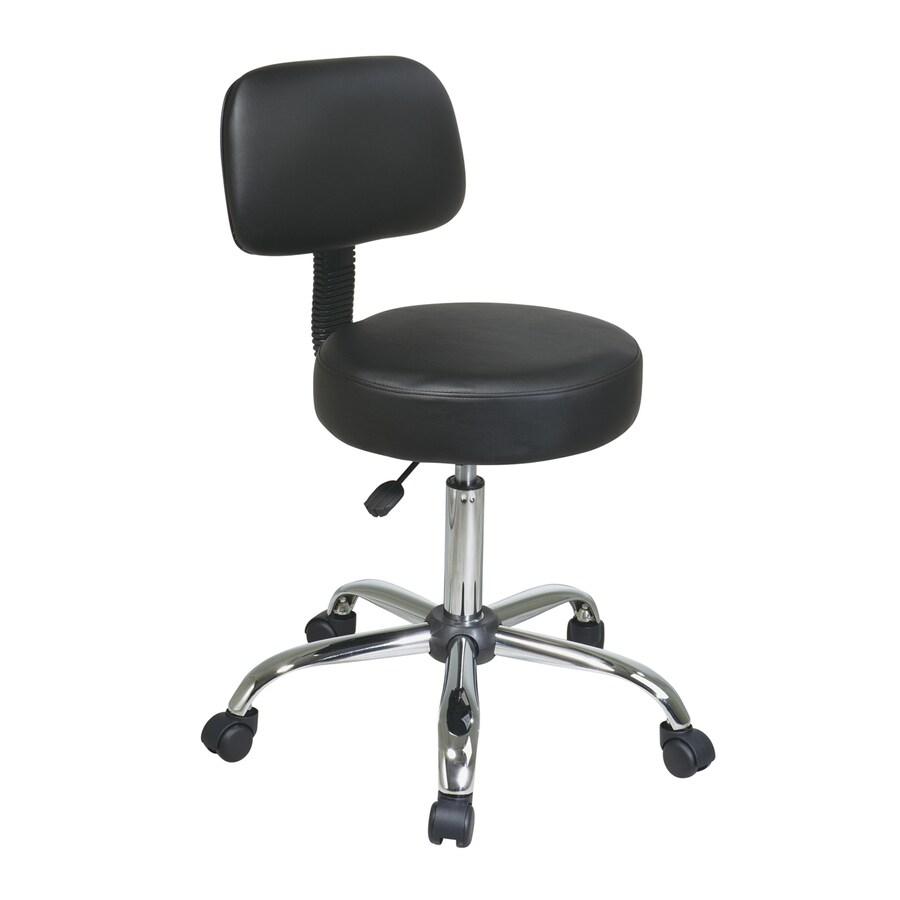 Office Star Worksmart Black/Chrome Vinyl Drafting Office Chair