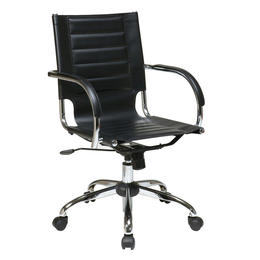 Office Star One Avenue Six Black/Chrome Vinyl Task Office Chair