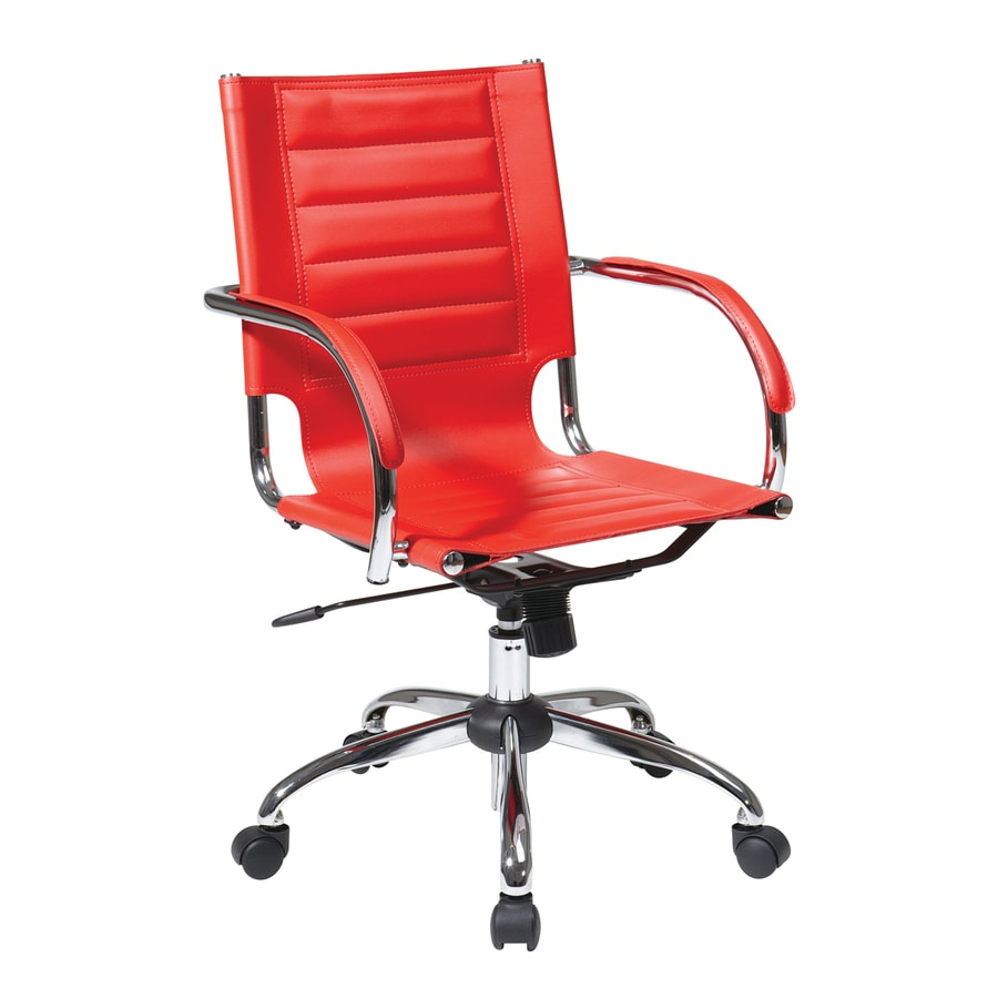 Office Star One Avenue Six Red/Chrome Vinyl Task Office Chair
