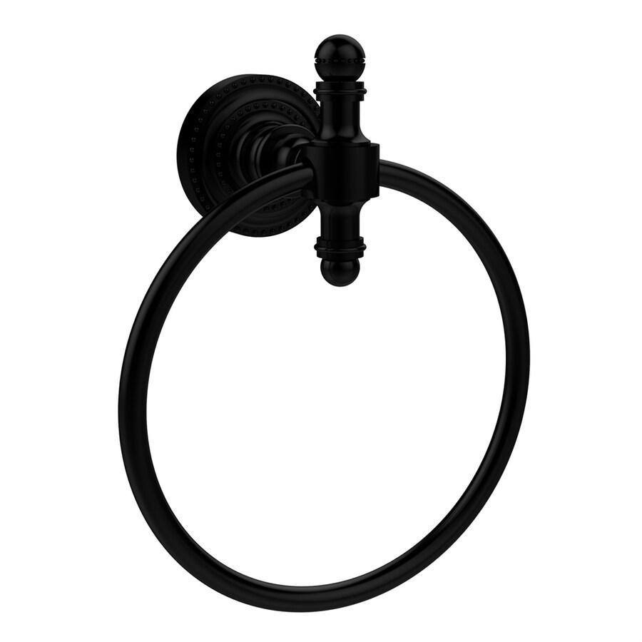 Allied Brass Retro-Dot Matte Black Wall-Mount Towel Ring