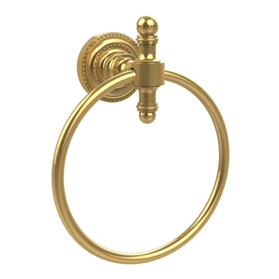Allied Brass Retro-Dot Polished Brass Wall-Mount Towel Ring