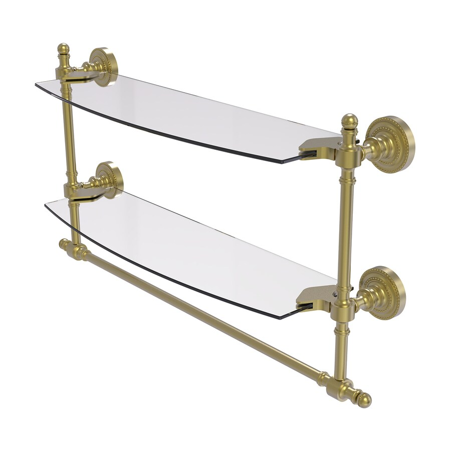 Allied Brass Retro-Dot 2-Tier Satin Brass Brass Bathroom Shelf