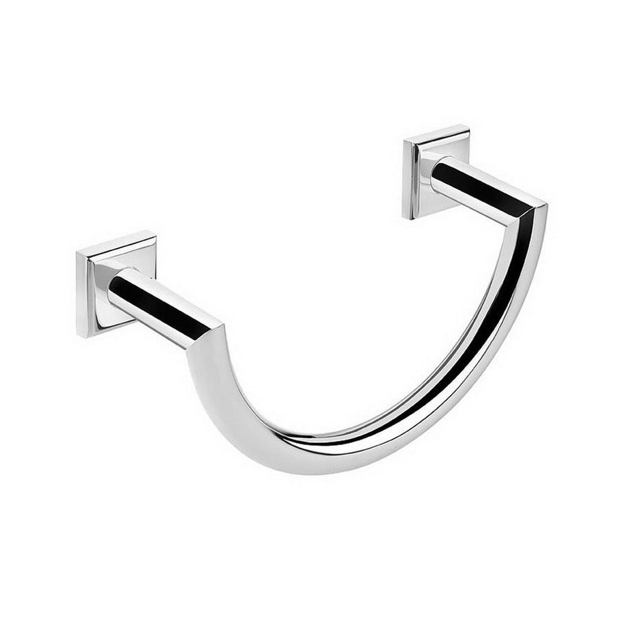 WS Bath Collections Kubic Class Polished Chrome Wall-Mount Towel Ring