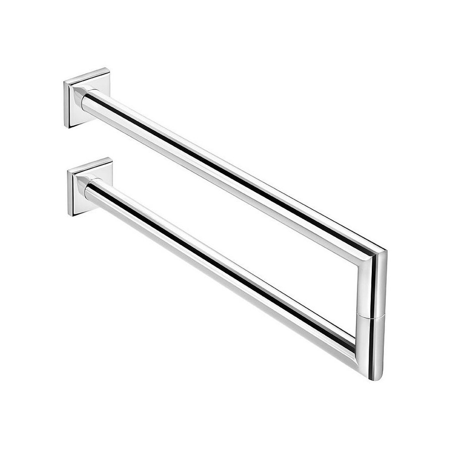 WS Bath Collections Kubic Class Polished Chrome Double Towel Bar (Common: 13-in; Actual: 14.2-in)