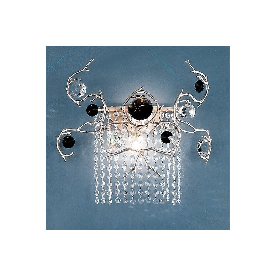 Classic Lighting 16-in W Foresta Colorita 2-Light Silver Frost Crystal Arm Wall Sconce