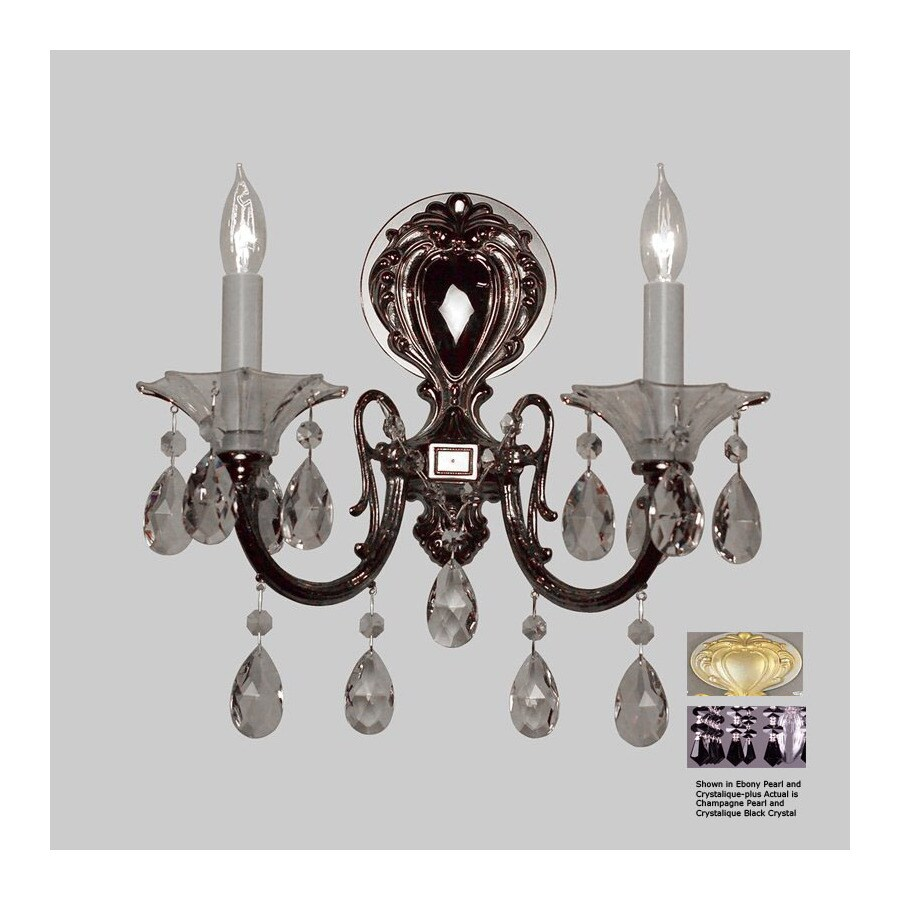 Classic Lighting 13-in W Via Lombardi 2-Light Silverstone Crystal Arm Wall Sconce