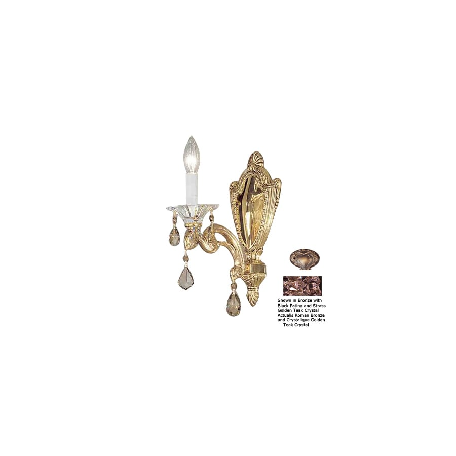 Classic Lighting 6-in W Via Firenze 1-Light Roman Bronze Crystal Accent Arm Wall Sconce