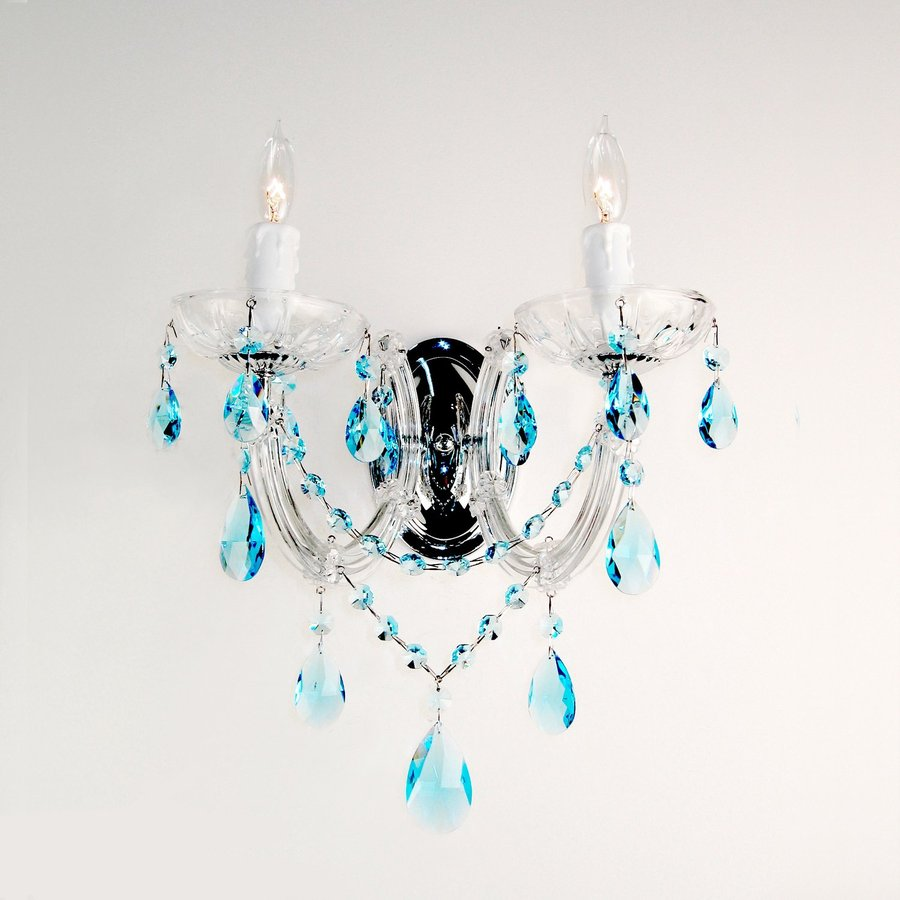 Classic Lighting Rialto Traditional 10-in W 2-Light Chrome Crystal Arm Hardwired Wall Sconce