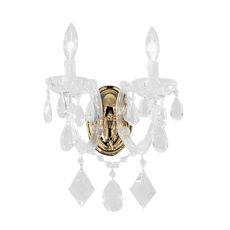 Classic Lighting Rialto Contemporary 10-in W 2-Light Gold Plated Crystal Arm Hardwired Wall Sconce