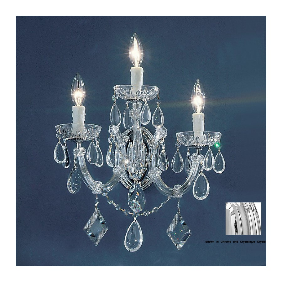 Classic Lighting Rialto Contemporary 10-in W 3-Light Chrome Crystal Arm Hardwired Wall Sconce