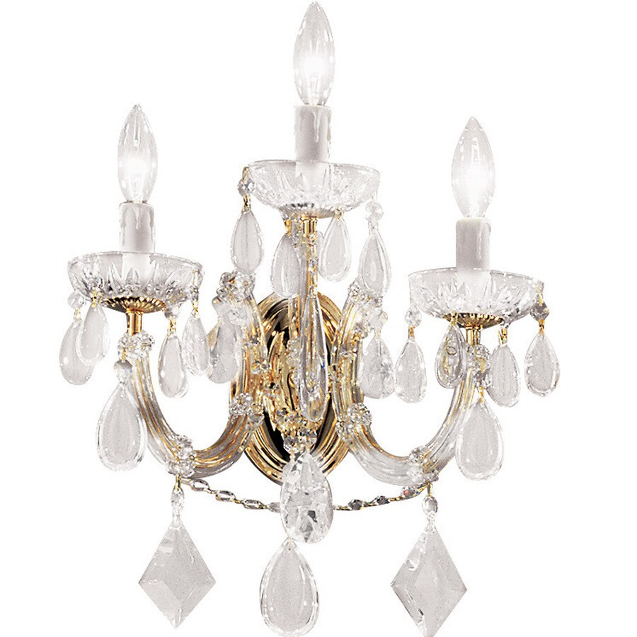 Classic Lighting Rialto Contemporary 10-in W 3-Light Gold Plated Crystal Arm Hardwired Wall Sconce