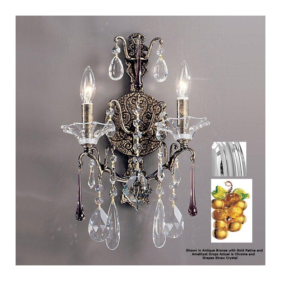 Classic Lighting 12-in W Garden of Versailles 2-Light Chrome Crystal Arm Wall Sconce