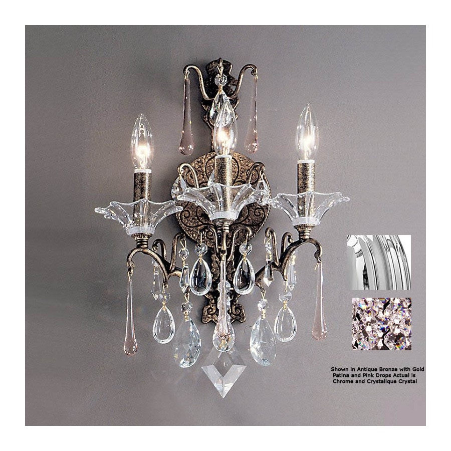Classic Lighting 13-in W Garden of Versailles 3-Light Chrome Crystal Arm Wall Sconce