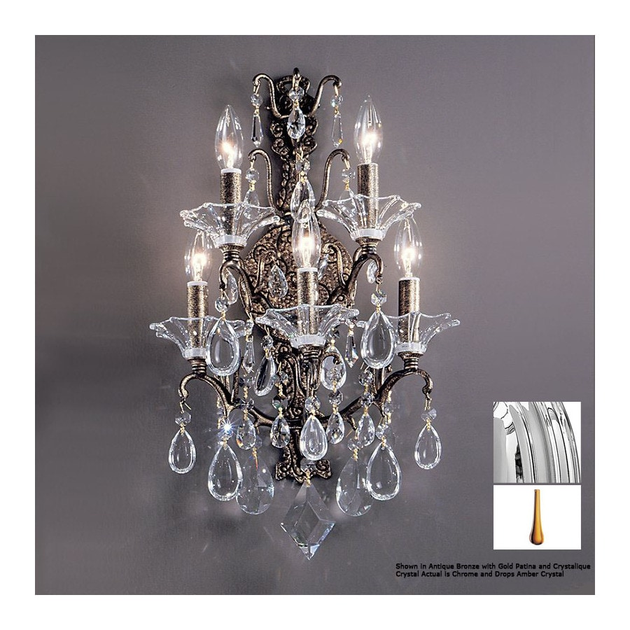 Classic Lighting 14-in W Garden of Versailles Chrome Crystal Arm Wall Sconce