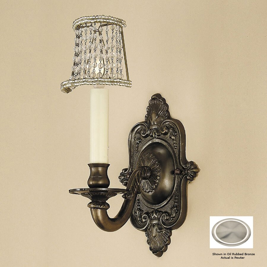 JVI Designs 6-in W 1-Light Pewter Arm Hardwired Wall Sconce