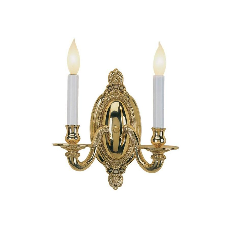 JVI Designs Classic 10-in W 2-Light Polished Brass Arm Hardwired Wall Sconce